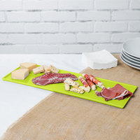 Tablecraft CW2107LG 19 1/2 inch x 6 7/8 inch x 3/8 inch Lime Green Cast Aluminum Rectangular Cooling Platter