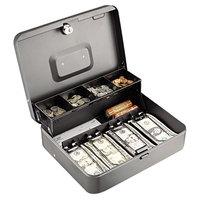 Steelmaster 2216194G2 11 13/16 inch x 9 7/16 inch x 3 3/16 inch Charcoal Cash Box with Cam Key Lock