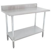 "16 Gauge Advance Tabco KLAG-305-X 30"" x 60"" Stainless Steel Work Table with 5"" Backsplash and Galvanized Undershelf"
