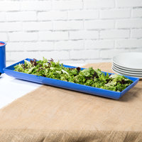 Tablecraft CW11047BS 25 inch x 8 inch x 2 1/2 inch Blue Speckle Cast Aluminum Flared Rectangular Platter