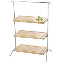 Clipper Mill by GET IR-606C 2-Tier Chrome Plated Iron Rectangular Riser - 20 inch x 9 1/4 inch x 19 inch