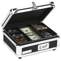 Vaultz VZ01002 10 inch x 8 3/4 inch x 5 inch Black / Chrome Cash Box with Tumbler Lock