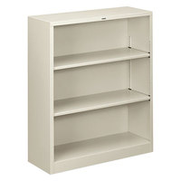 HON S42ABCQ Light Gray 3 Shelf Metal Bookcase 34 1/2 inch x 12 5/8 inch x 41 inch