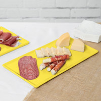 Tablecraft CW2106Y 13 1/4 inch x 6 3/4 inch x 3/8 inch Yellow Cast Aluminum Rectangular Cooling Platter