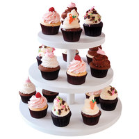 Clipper Mill by GET WR-100 15 inch White Wood Laminate 3-Tier Cupcake Stand