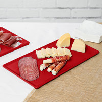 Tablecraft CW2106R 13 1/4 inch x 6 3/4 inch x 3/8 inch Red Cast Aluminum Rectangular Cooling Platter