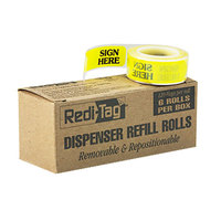 Redi-Tag 91001 Yellow 1 3/4 inch x 9/16 inch Sign Here Arrow Page Flag Dispenser Refill - 720/Box