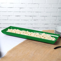Tablecraft CW11047GN 25 inch x 8 inch x 2 1/2 inch Green Cast Aluminum Flared Rectangular Platter