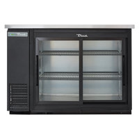True TBB-24-48G-SD-HC-LD 49 inch Black Narrow Sliding Glass Door Back Bar Refrigerator with LED Lighting