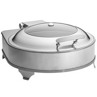Tablecraft CW40164 4 Qt. Round Stainless Steel Quick View Electric Chafer with Stand - 110V