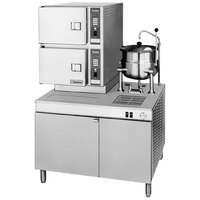 Cleveland 42-CKSM Classic Series 6 Pan Direct Steam Coil Convection Floor Steamer with Boiler Base and 6 Gallon Steam Jacketed Kettle