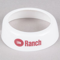 Tablecraft CM20 Imprinted White Plastic Lite Ranch Salad Dressing Dispenser Collar with Maroon Lettering