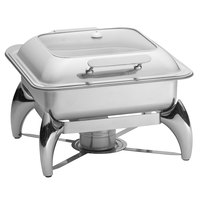 Tablecraft CW40176 5 Qt. 2/3 Size Stainless Steel Quick View Induction / Traditional Chafer with Stand