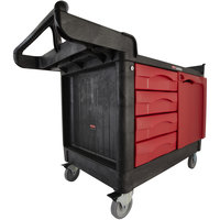 Rubbermaid FG454888BLA TradeMaster 58 9/16 inch x 26 3/8 inch Black Cart with 4 Drawers and Cabinet