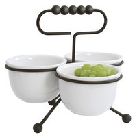 Clipper Mill by GET IRSLD-5B Black Powder Coated Iron Condiment Stand with Ceramic Bowls
