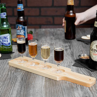 Acopa 14 1/2 inch x 3 1/2 inch Four-Hole Natural Finish Wood Beer Flight Sampler Paddle - 12/Pack