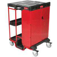 Rubbermaid FG9T5800BLA 31 1/2 inch x 27 inch Black Ladder Cart with Cabinet