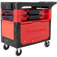 Rubbermaid FG618088BLA 38 inch x 19 3/16 inch Black Trades Cart with Locking Cabinet