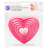 Wilton 2304-115 6-Piece Plastic Hearts Cookie Cutter Set