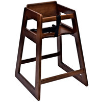 Koala Kare KB800-24-KD Woodrow Ready to Assemble Stackable High Chair with Dark Wood Finish
