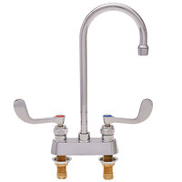 Fisher 90212 Deck Mounted Faucet with 4 inch Centers, 6 inch Rigid Gooseneck Nozzle, 2.2 GPM Aerator, and Wrist Handles
