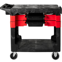 Rubbermaid FG618000BLA 38 inch x 19 3/16 inch Black Trades Cart with 2 Parts Boxes and 4 Parts Bins