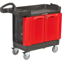 Rubbermaid FG451288BLA TradeMaster 41 9/16 inch x 18 3/16 inch Black Cart with 2-Door Cabinet
