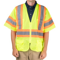 Lime Class 3 Mesh High Visibility Safety Vest with Two-Tone Reflective Tape - L