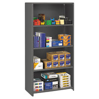 Tennsco ESPC1836MGY Medium Gray 4 Shelf Closed Commercial Steel Shelving - 36 inch x 18 inch x 75 inch
