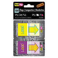 Redi-Tag 72039 Assorted Color 1 inch x 11/16 inch Look! Pop-Up Page Flag with Dispenser