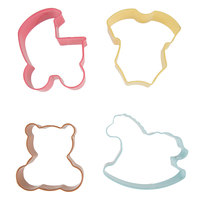 Wilton 2308-1067 4-Piece Metal Baby Shower Cookie Cutter Set