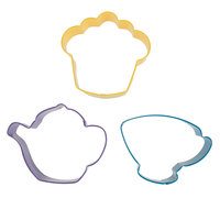 Wilton 2308-0092 3-Piece Plastic Tea Party Cookie Cutter Set