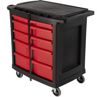 Rubbermaid FG773488BLA 32 9/16 inch x 19 15/16 inch Mobile Work Center with 5 Drawers
