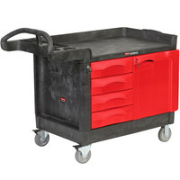 Rubbermaid FG453388BLA TradeMaster 49 inch x 26 3/16 inch Black Cart with 4 Drawers and Cabinet