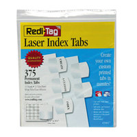 Redi-Tag 39017 1 1/8 inch White Laser Printable Plastic Index Tabs - 375/Pack