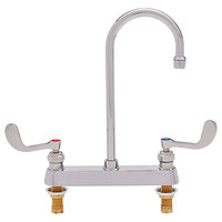 Fisher 82929 Deck Mounted Faucet with 8 inch Centers, 6 inch Rigid Gooseneck Nozzle, 2.2 GPM Aerator, and Wrist Handles