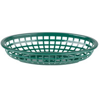 9 1/4 inch x 5 3/4 inch Forest Green Plastic Oval Fast Food Basket - 12/Pack