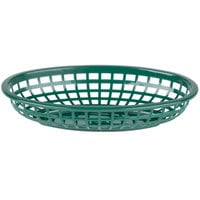 Tablecraft 1074 9 1/4 inch x 5 3/4 inch Forest Green Plastic Oval Fast Food Basket   - 12/Pack