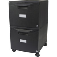 Storex 61309B01C Black Plastic Two-Drawer Mobile Filing Cabinet - 14 3/4 inch x 18 1/4 inch x 26 inch