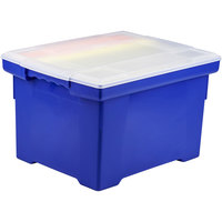 Storex 61554U01C Blue Plastic Letter / Legal File Storage Box with Snap-On Clear Lid - 18 1/2 inch x 14 1/4 inch x 10 7/8 inch