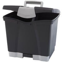 Storex 61523U01C Black Plastic Portable Letter File Storage Box with Bottom Drawer - 14 inch x 11 1/4 inch x 14 1/2 inch