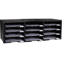 Storex 61602U01C Black 12 Section Heavy-Duty Plastic Literature Organizer - 10 5/8 inch x 13 3/10 inch x 31 7/16 inch
