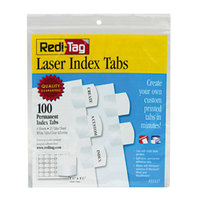 Redi-Tag 33117 1 1/8 inch White Laser Printable Plastic Index Tabs - 100/Pack