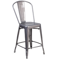 Flash Furniture XU-DG-TP001B-24-GG Clear Coated Metal Counter Height Stool with Vertical Slat Back and Drain Hole Seat