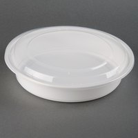 48 oz. White 9 inch Round Microwavable Container with Lid - 150 / Case