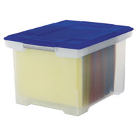 Storex 61508U01C Clear Plastic Letter / Legal File Storage Box with Snap-On Blue Lid - 18 1/2 inch x 14 1/4 inch x 10 7/8 inch