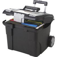 Storex 61507U01C Black Letter-Size Premium File Cart - 15 inch x 16 3/8 inch x 14 1/4 inch