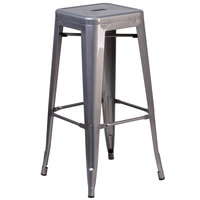 Flash Furniture XU-DG-TP0004-30-GG Clear Coated Stackable Metal Bar Height Stool with Drain Hole Seat