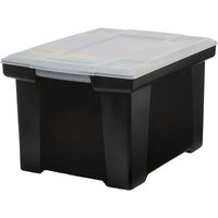 Storex 61528U01C Black Plastic Letter / Legal File Storage Box with Snap-On Clear Lid - 18 1/2 inch x 14 1/4 inch x 10 7/8 inch