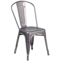 Flash Furniture XU-DG-TP001-GG Clear Coated Stackable Metal Chair with Vertical Slat Back and Drain Hole Seat